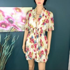 Ark & Co. Floral Tunic Blouse or Dress Size Large